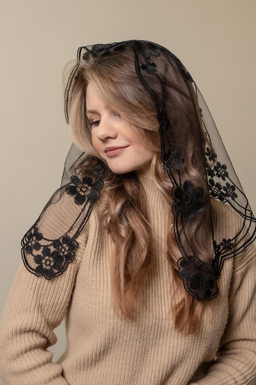 Wedding - NEW! Black chapel veil with floral, black Lace scarf, black church veil, Catholic veil