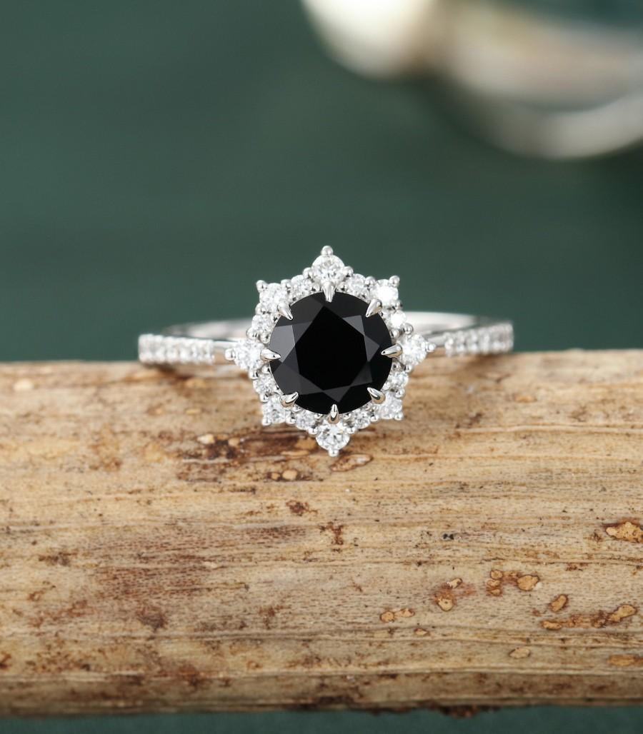 زفاف - Black onyx engagement ring white gold vintage engagement ring halo diamond/Moissanite half eternity wedding women Bridal Anniversary gift