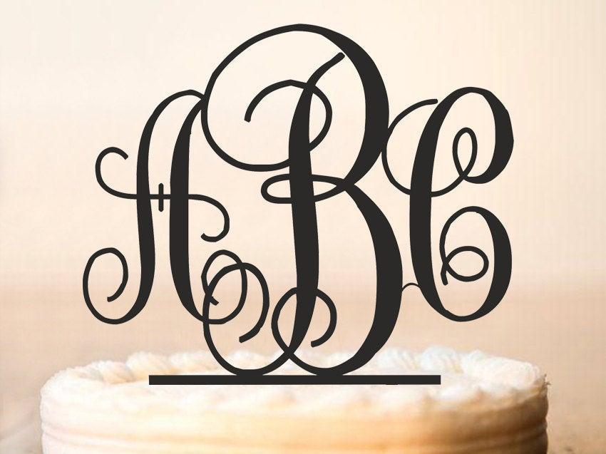 Mariage - Monogram Cake Topper,monogram wedding cake topper,Initial Cake Topper,Letter cake topper,Bridal Cake Topper,Cake Topper Monogram (0011)