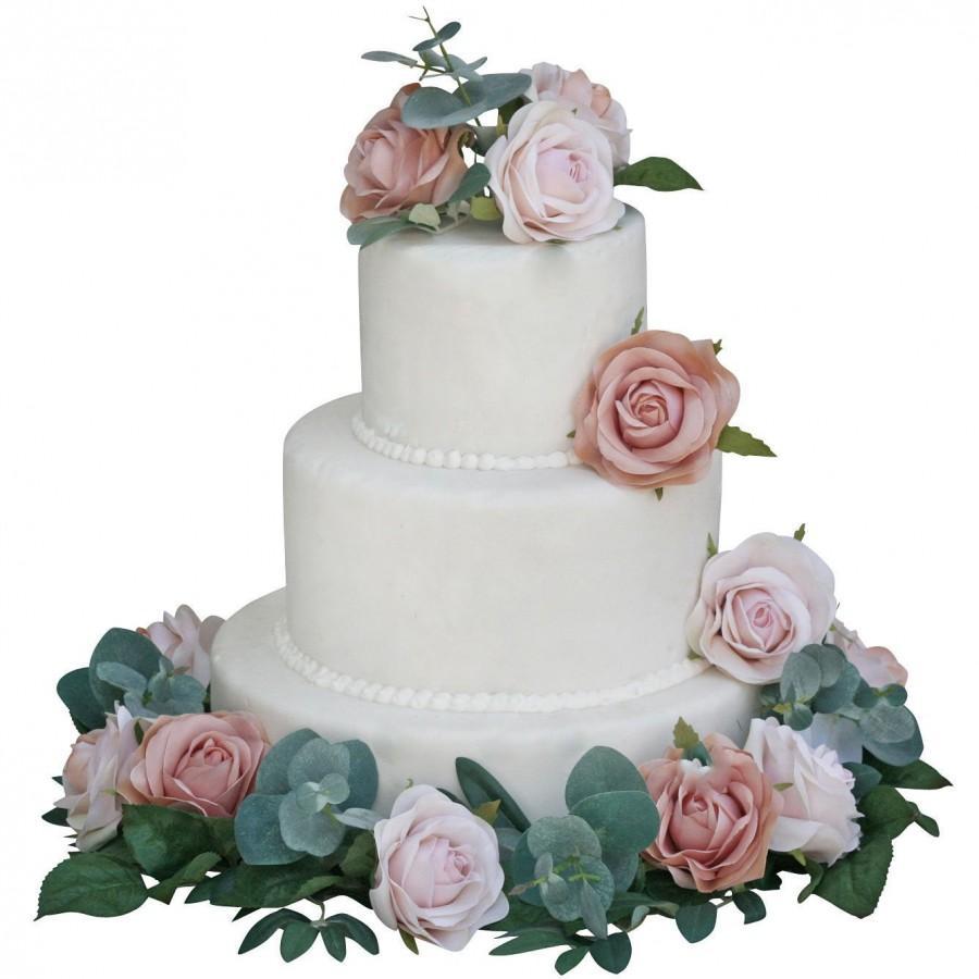Mariage - Champagne Gold Blush Pink Silk Wedding Cake Decorations