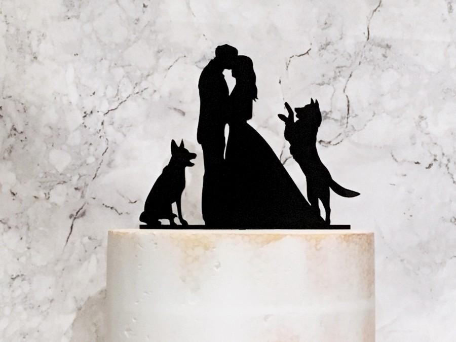 Mariage - Bride Groom and German Shepherd Dogs Silhouette Wedding Cake Topper, Couple and 2 Dogs, Wedding Cake Topper with German Shepherd, Cake decor