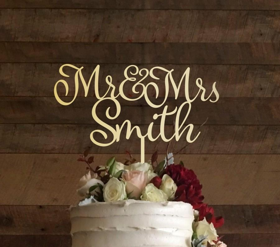 Mariage - Personalised Wedding Cake Topper Mr and Mrs Calligraphy Cake Topper Personalized Surname Gold Wooden Customized Surname Cake Topper, #042