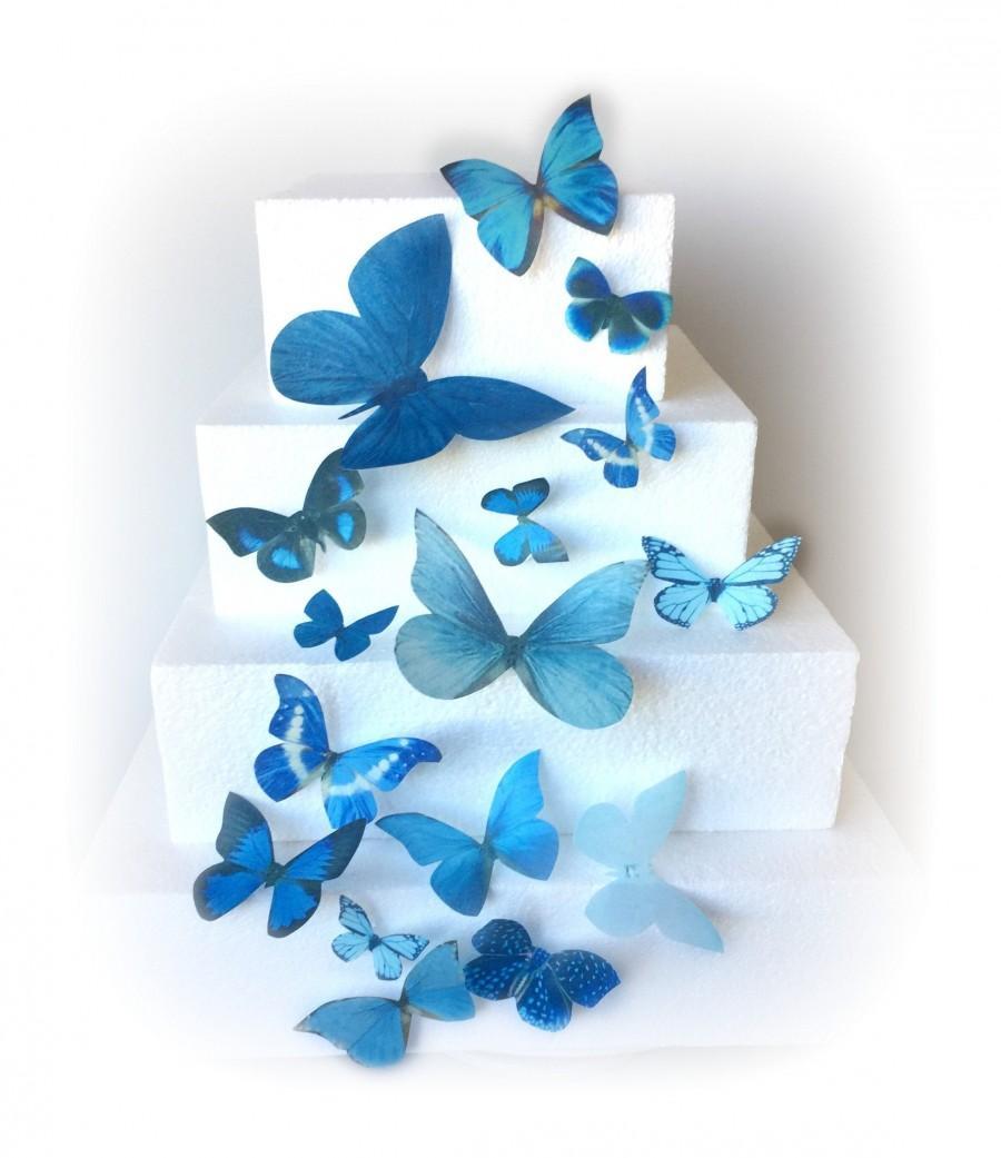 Mariage - 15 Small Medium Large Assorted Blue Edible Butterflies Pre Cut Decorations Butterfly Cookie Pop Wedding Cake Cupcakes Dessert