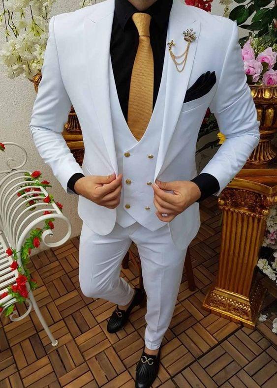 Wedding - Men Suits White Wedding Groom Wear Suits, 3 Piece Suit Formal Fashion Slim Fit Suit For Men
