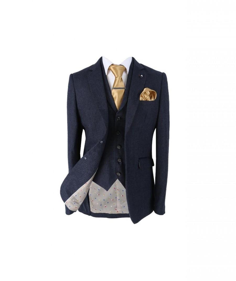 Wedding - Men's Martez Navy Blue Slim Fit Herringbone Tweed Suit