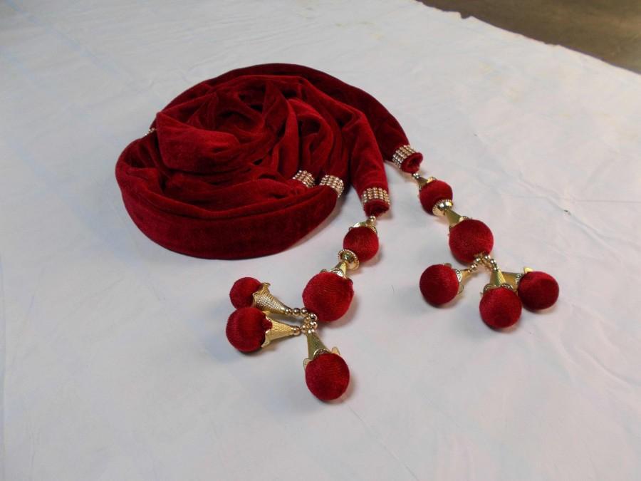 Wedding - Men Stole Indian Wedding Scarves Handmade Sherwani Groom Velvet Dupatta, Round Balls Design, 2.5 Metre Length - Maroon Color