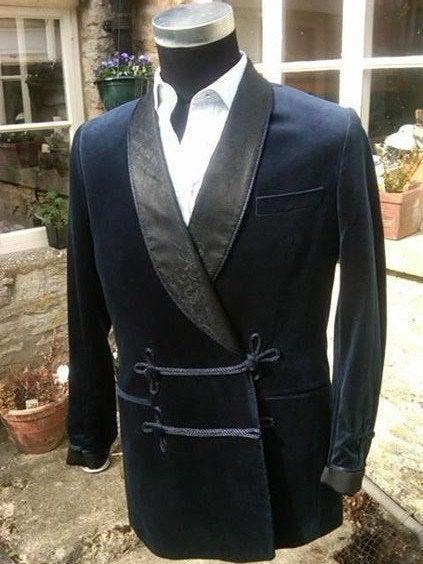 Wedding - Smoking Velvet Blazer Jacket Night Wear Shawl Collar Two Button Men's Party Wear