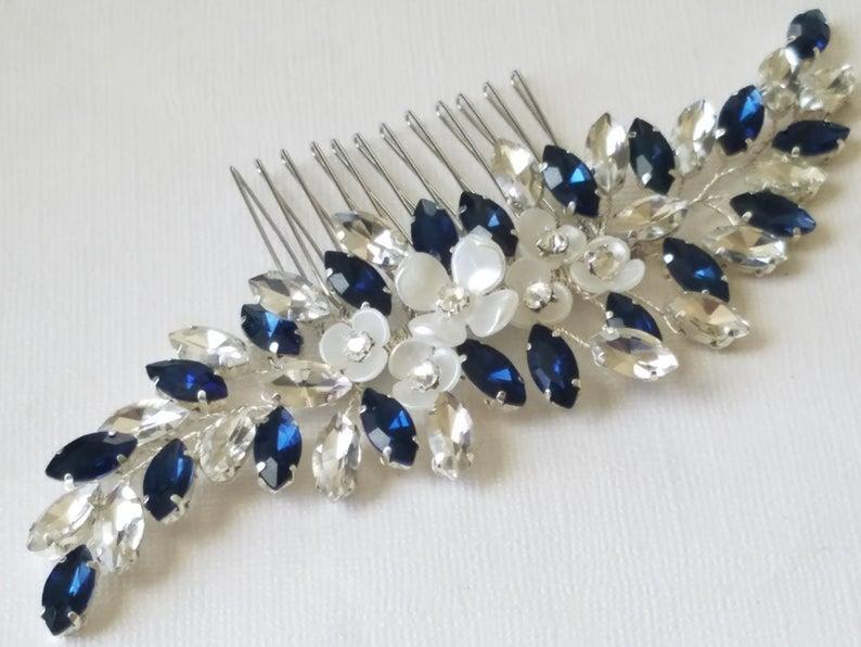 Wedding - Navy Blue Bridal Hair Comb, Blue Crystal Hairpiece, Wedding Dark Blue Headpiece, Navy Crystal Hair Jewelry, Blue Floral Silver Hairpiece