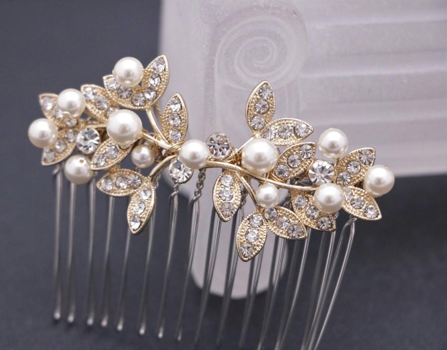 Wedding - bridal hair comb silver and pearl hair pins Wedding hair comb Gold Bridal comb Rhinestone hair comb Wedding comb Vintage style Boho hair pin