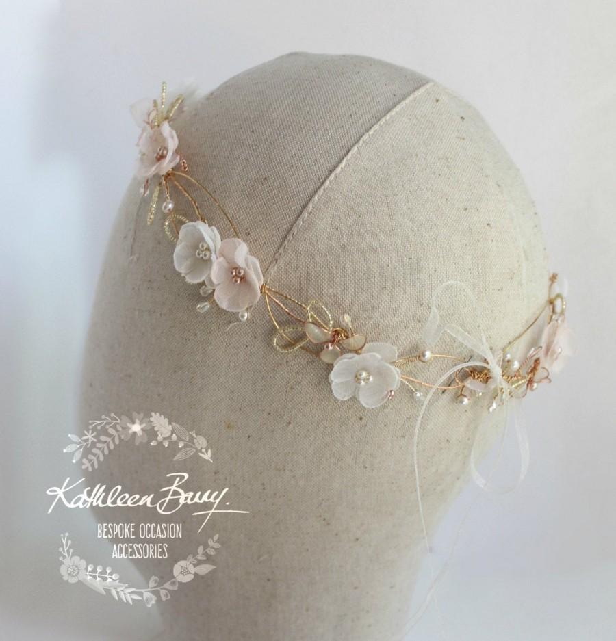 Wedding - Rose gold blush pink crown headband - wreath floral circlet  - bridal hair accessories - wedding STYLE: Jamie