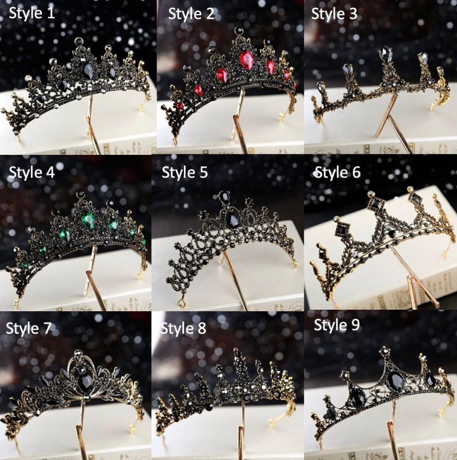 Wedding - Bridal Black Tiaras, Crystal Tiara, Crystal Wedding Crown, Rhinestone Tiara, Wedding Tiara, Diamante Crown Pageant Crown, Bridal Tiara