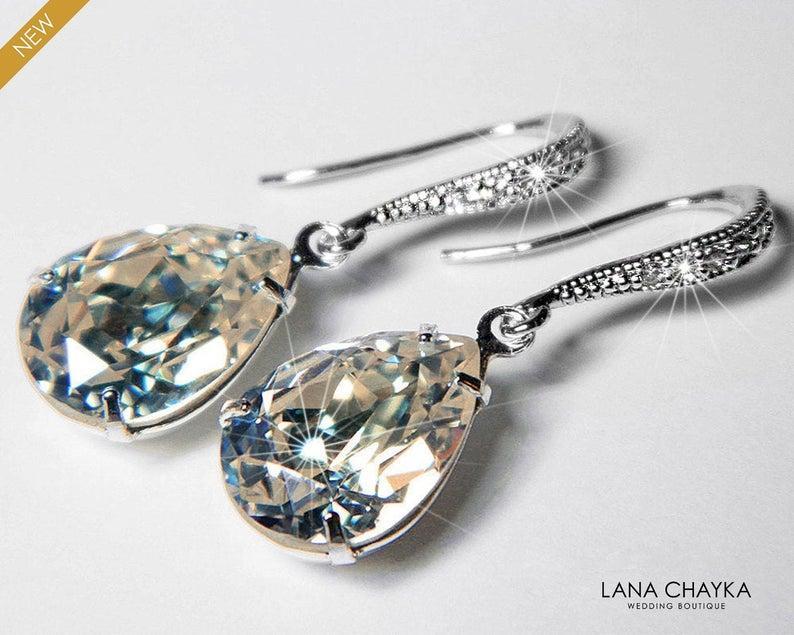 Wedding - MOONLIGHT Crystal Earrings Swarovski Moonlight Pale Yellow Grey Silver Rhinestone Earrings Wedding Crystal Dangle Earrings Prom Earrings