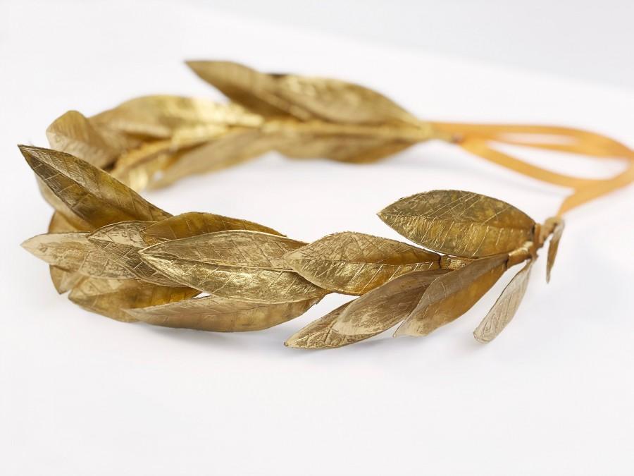 Wedding - Gold Laurel Leaf Crown, Greek God Wreath, Toga Costume, Apollo Gold Leaf Headpiece, Hair Wreath, Bay Leaf Garland, Laureate, Man Crown, Eros