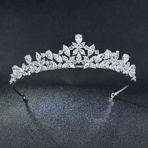 Wedding - CZ Bridal Bridesmaids Flower Girl Sweet sixteen 16 Wedding Quinceañera Party Pageant Crown Tiara Cubic Zirconia