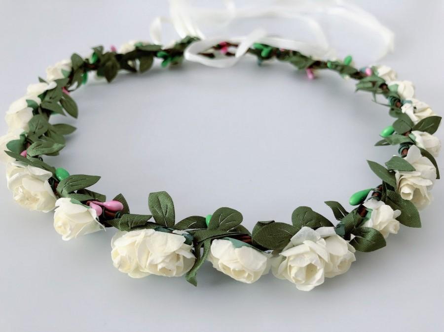 Wedding - Wedding Bride Bridemaid Creamy White Rustic Flower Bohemia boho Floral Fairy Leaf Crown Tiara Bridal Wreath Headband Headpiece hair band
