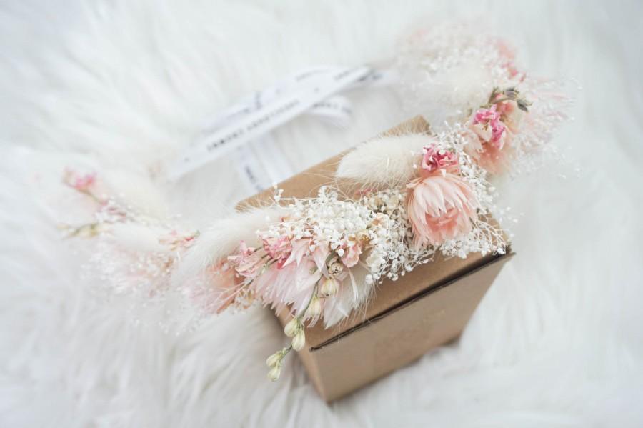 Wedding - Blush Flower Crown / Bridal Flower Crown / Floral Hair Crown / Bridal Hair Accessories / Boho Bride