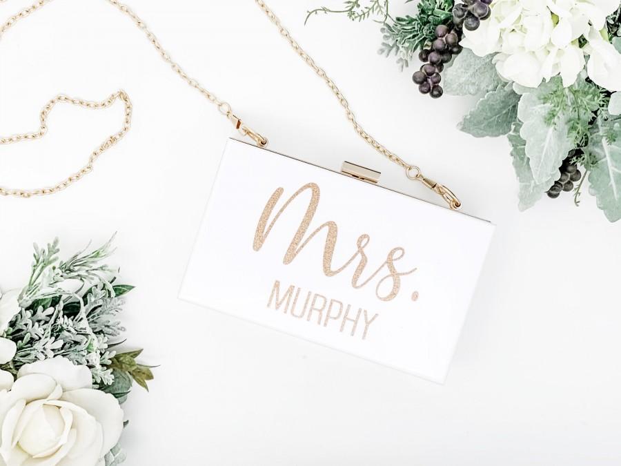 Wedding - Bridal Purse - Bridesmaid Clutch - Mrs. Purse - Bride Purse for Wedding - Clear Purse