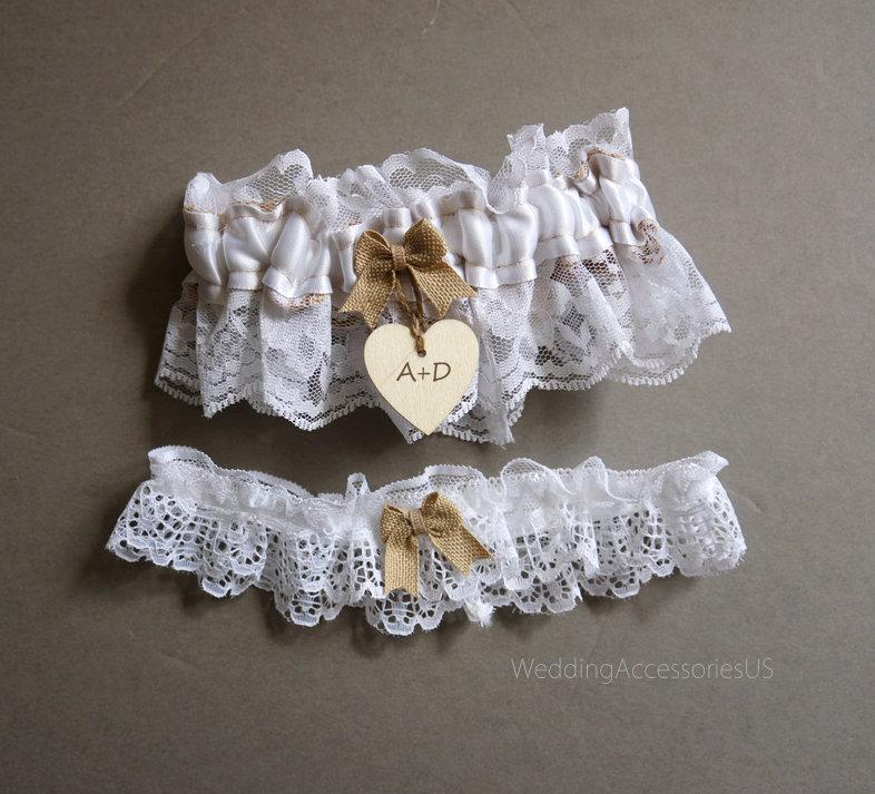 Wedding - Wedding Garter Burlap Garter Bridal Garter White Lace Garter Lace Wedding Garter Rustic Wedding Garter