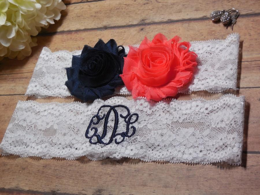 Wedding - Monogrammed Garter, Personalized Garter, Navy Garter, Coral Garter, Navy and Coral, Something Blue, Lace Garter, Wedding Garter, Garter