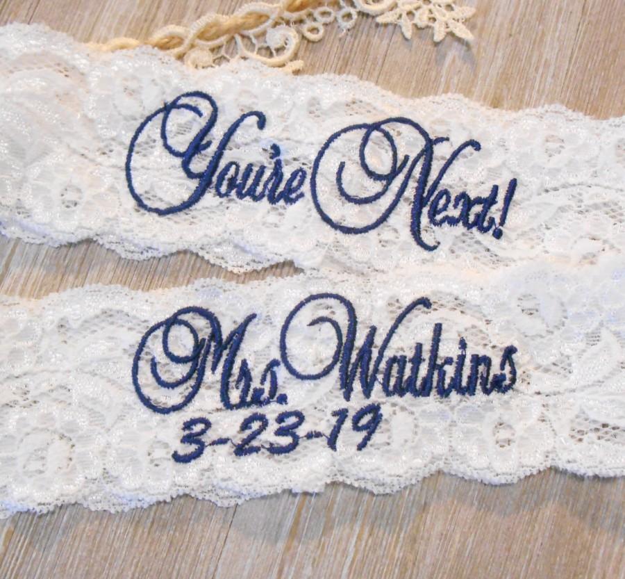 Wedding - Wedding Garter MANY MONOGRAM COLORS Bridal Garter Floral Stretch Lace Bridal Garter Single Garter