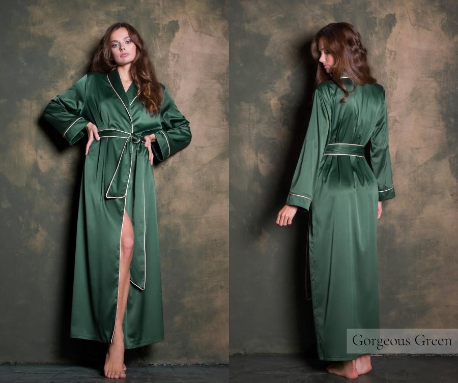 Wedding - Green Silk Long Dressing Gown • Luxury Satin Bridesmaid Robe • Valentines Gift for Her, Girlfriend & Wife • Sexy Plus Size Womens Nightwear