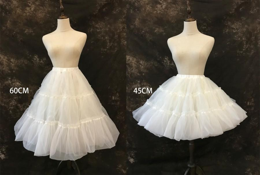 Wedding - Lolita Fluffy Petticoat, 2 layer organza petticoat, A-line lolita petticoat, Above the knee Underskirt,Below the knee Fluffy petticoat