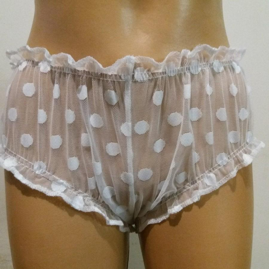 Hochzeit - Polka dot white mesh sissy panties/ Mesh sleeping panties/ Wedding shorts/ Sexy shorts/ Sissy for sleeping/ Womens shorts