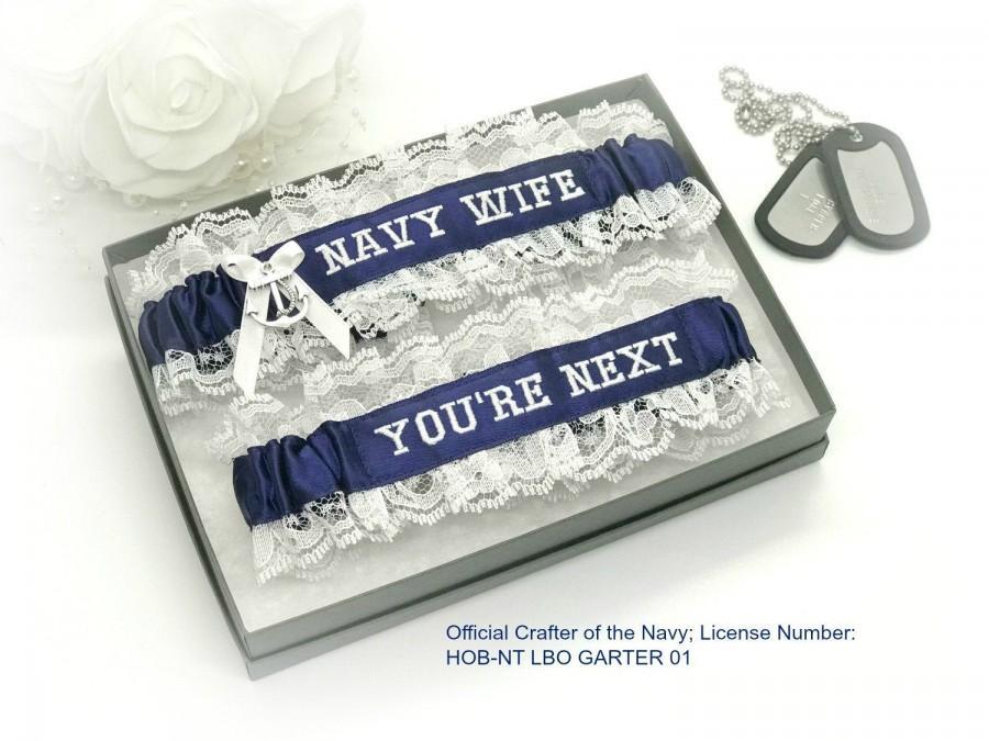 Hochzeit - Navy Wedding Garters - Navy Wife Wedding Garters - Navy Nautical Garter Set - You're Next Wedding Garter.