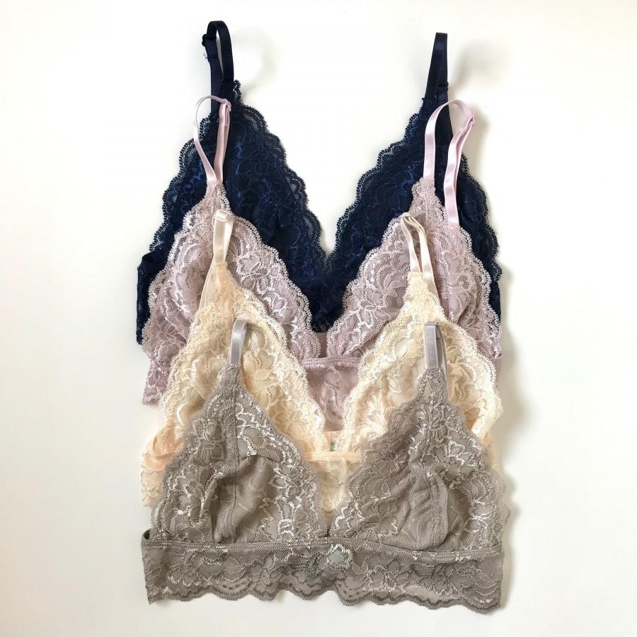 Hochzeit - Floral All Over Lace Trim Triangle Bralette