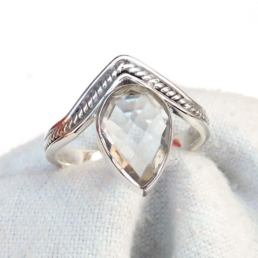 Hochzeit - Natural Crystal quartz Ring, 925 Sterling silver Crystal quartz Ring, Pear drop Ring, Fine silver Ring, Handmade Silver Ring-U142