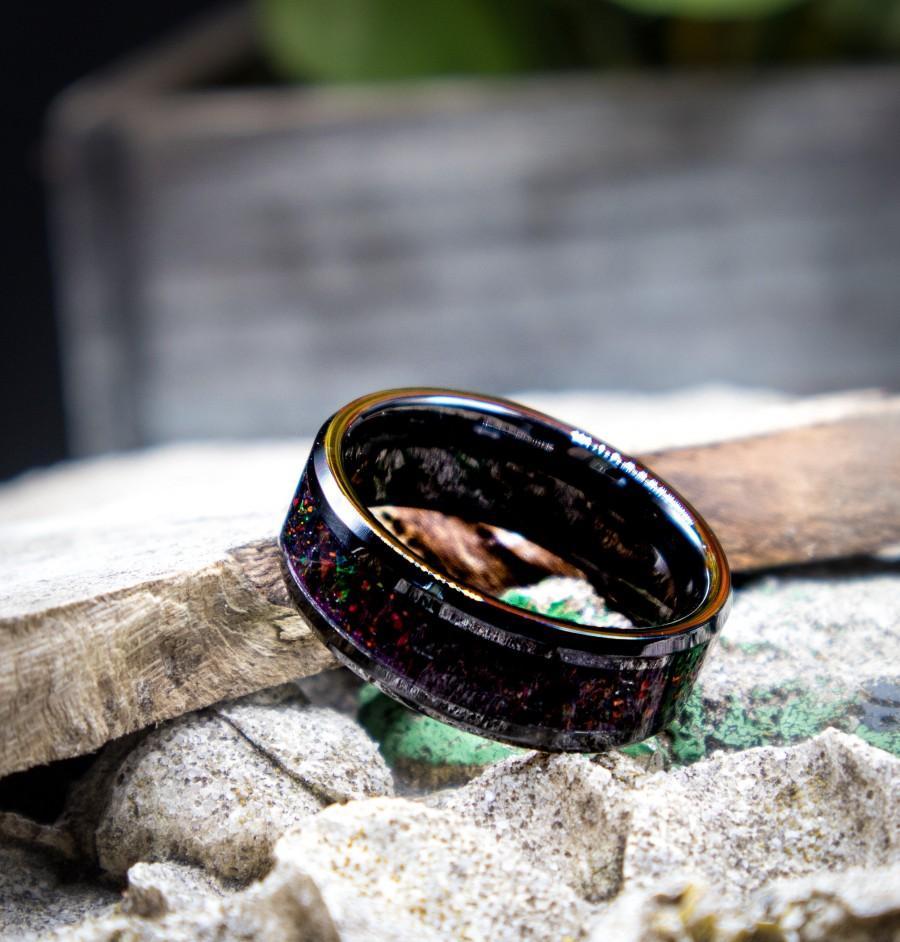 Wedding - Lava Stone Opal Ring, Mens Ring, or Mens Wedding Ring