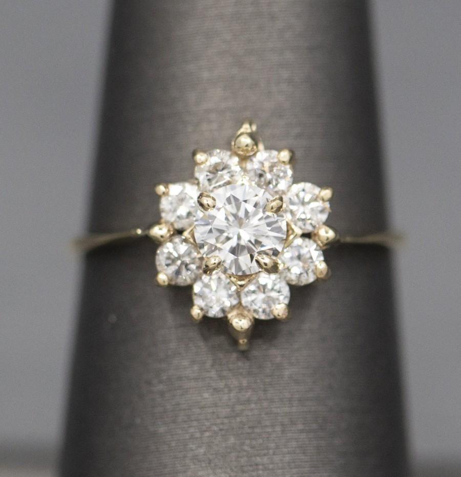 Hochzeit - Sparkling Diamond Cluster Ring in 14k Yellow Gold, Delicate Diamond Engagement Ring, 1.06ctw Low Profile Diamond Ring, Starburst, Feminine