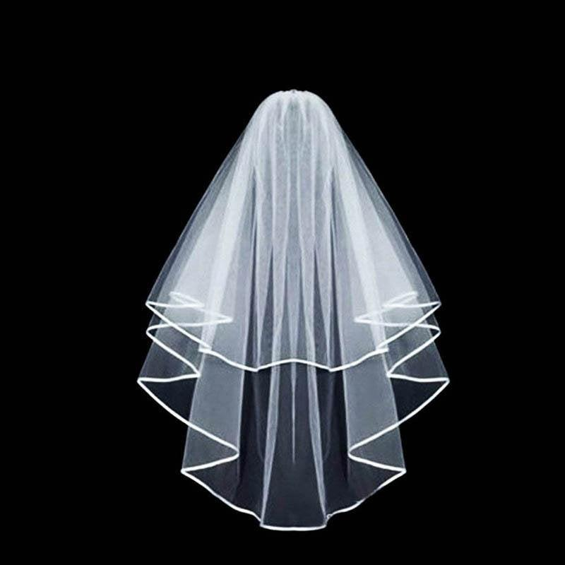 Wedding - White Double Layer Bridal Wedding Veil, Hens Party, Hens Night, Bachelorette Party, Classic White Wedding Veil, Bridal Fingertip Length Veil