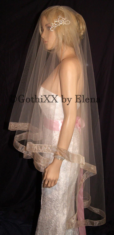 Wedding - Wedding Veil Waltz Center-Gather Drop Black Champagne Gold Peach Pink Beige Width 30 Inch & 50 Inch Length 1.5 Inch Wide Organza Ribbon Edge