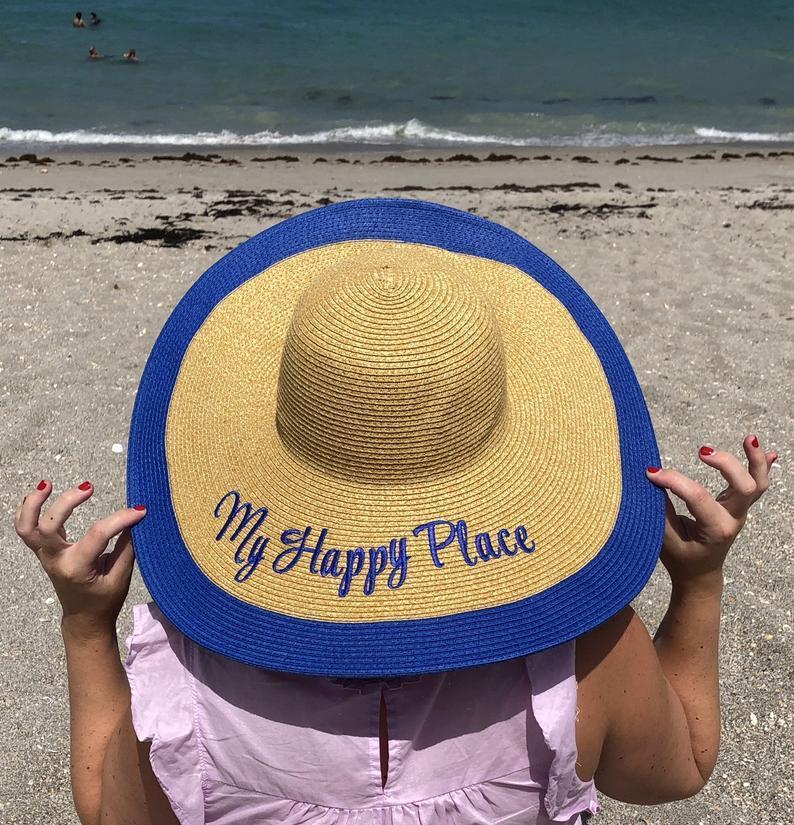 Hochzeit - Royal Blue Floppy Hat Women's Royal Blue Sun Beach Trip Sun Hats Mother's Day Gift Sun Hat for Her Monogram Hats