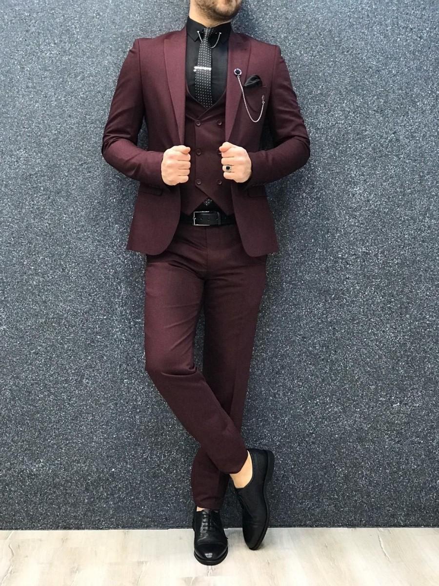 Wedding - Men Suits Men Burgundy Formal Fashion Slim Fit 3 Piece Wedding Groom Wear Suits