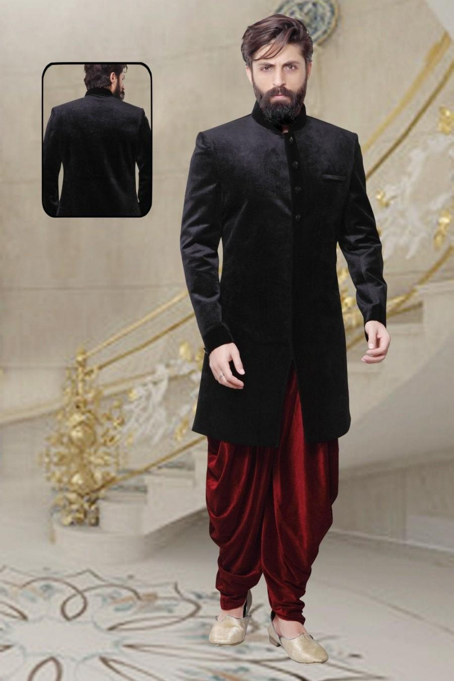 Wedding - Indian Sherwani for Men in Velvet For Wedding Ceremony Festival Indo-Western Style Royal Outfit ( More Colors available )
