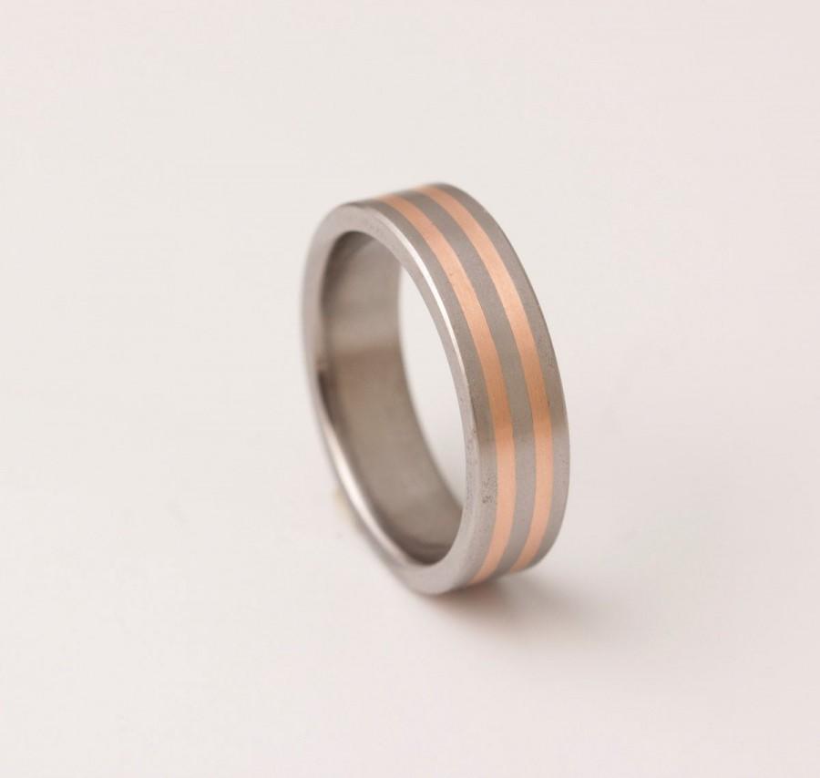 Wedding - Titanium copper wedding ring // men's wedding band // titanium rings him her