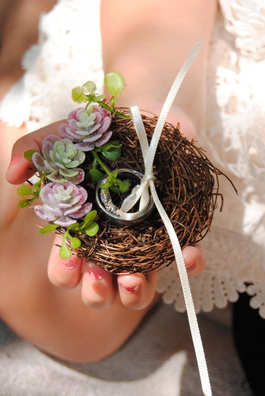 Wedding - Succulent Wedding - Bird Nest - Ring Holder - Rustic Ring Holder - Wedding Ring Pillow - Ring Bearer - Woodland Wedding - Rustic Ring Bearer