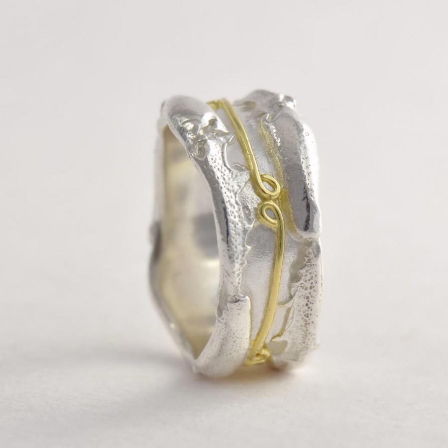 Wedding - Raw bespoke 18ct gold and silver wedding ring - rustic wedding ring - unique wedding rings - silver and gold ring