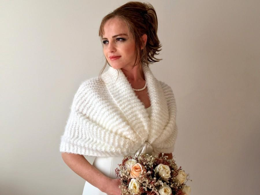 Wedding - Wedding shawl, bridal wrap, bridesmaid bolero, ivory cover up, fuzzy cape, mohair capalet, bride gift, winter wedding, stole, shrug, shawls