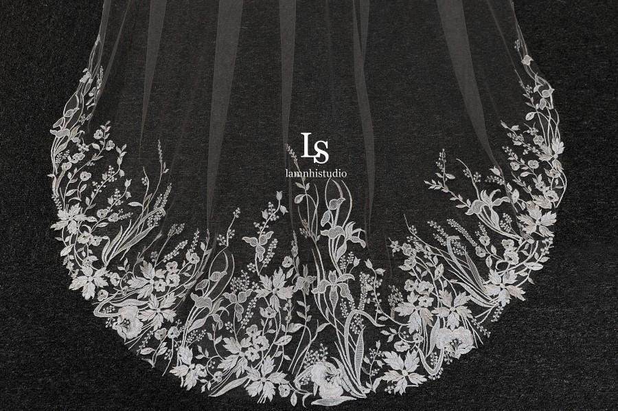 Wedding - LS124/ Leaf lace veil/ bridal lace veil/ lace veil/1 tierveil/ chapel veil/custom veil/ bridal veil/