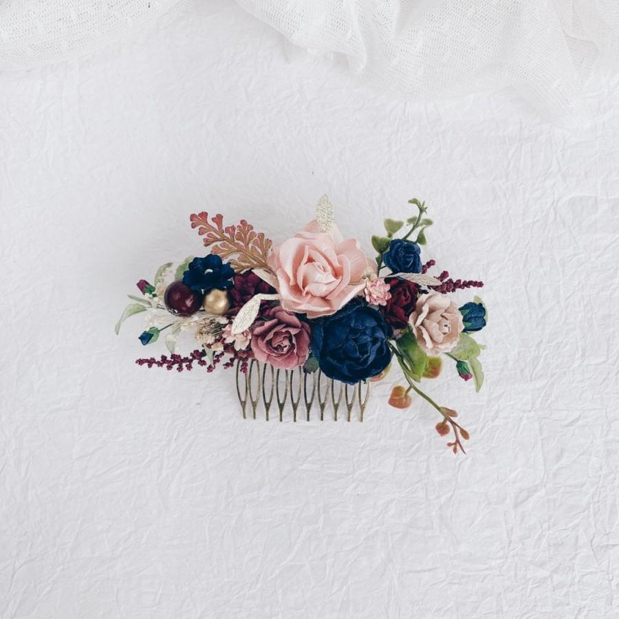 Wedding - Flower hair comb, Wedding flower hair clip, Navy flower hair comb, Bridal Flower hair clip, Wedding hair piece