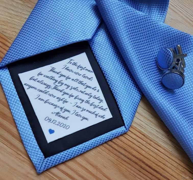 Wedding - Dad Tie patch, Suit Label, Personalized Tie Patch, Father of the Groom, Thank You Dad Label, best man, stepdad, iron on tie patch