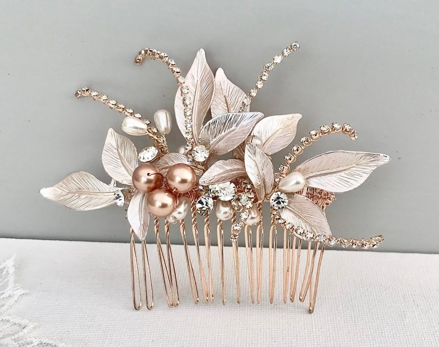 Wedding - Bridal hair piece, Rose gold Leaf Hair comb , Stunning Bridal Headpiece, Hair accessories for the discerning bride, Wedding statement,