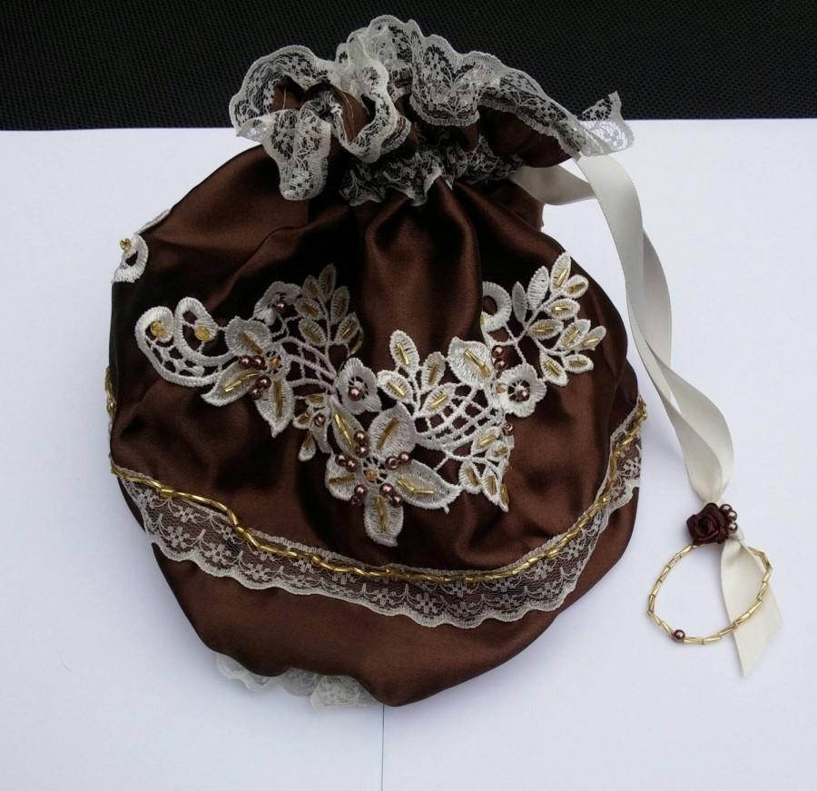 Mariage - Chocolate ivory handmade steampunk bag, steampunk purse, drawstring bag, Wedding bag, Regency purse, beaded wedding purse, reticule