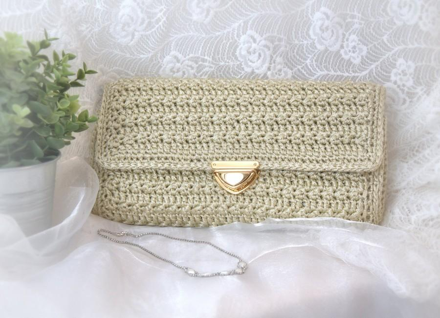 Mariage - Wedding bag for bride, nuptials pochette with gold closure, crochet bags handmade, accessories for hymeneals, present for valentine's day.
