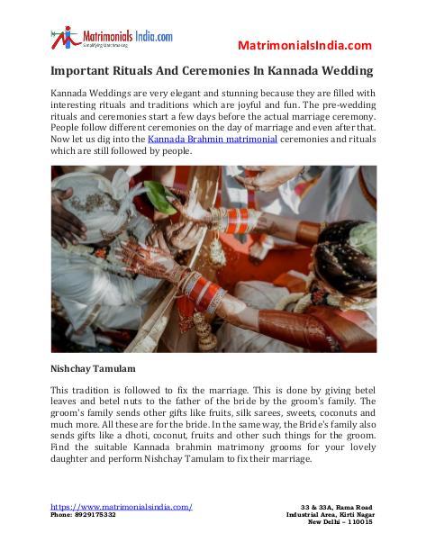 Wedding - Important Rituals And Ceremonies In Kannada Wedding