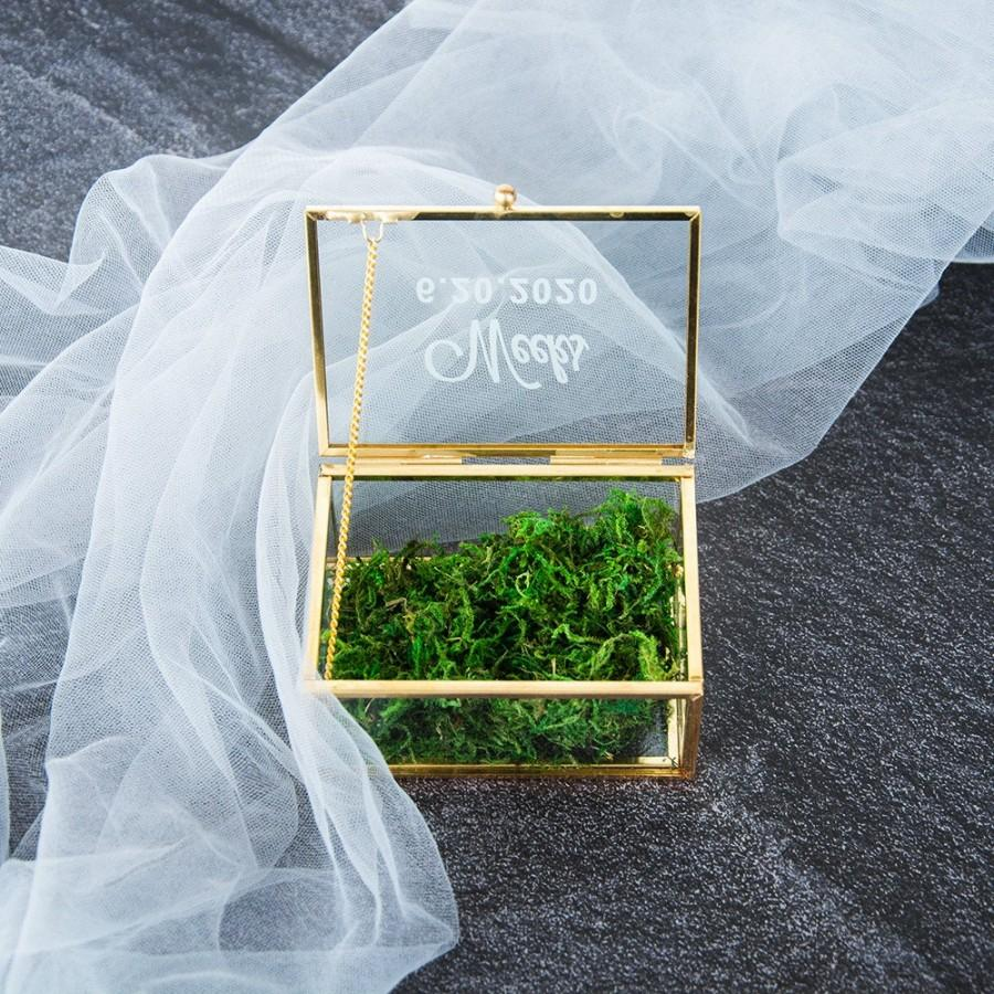 Wedding - Personalized Glass Ring Box, Gold Ring Box, Laser Engraved Glass Ring Box, Ring Bearer Box, Clear Ring Box, Wedding Ring Holder