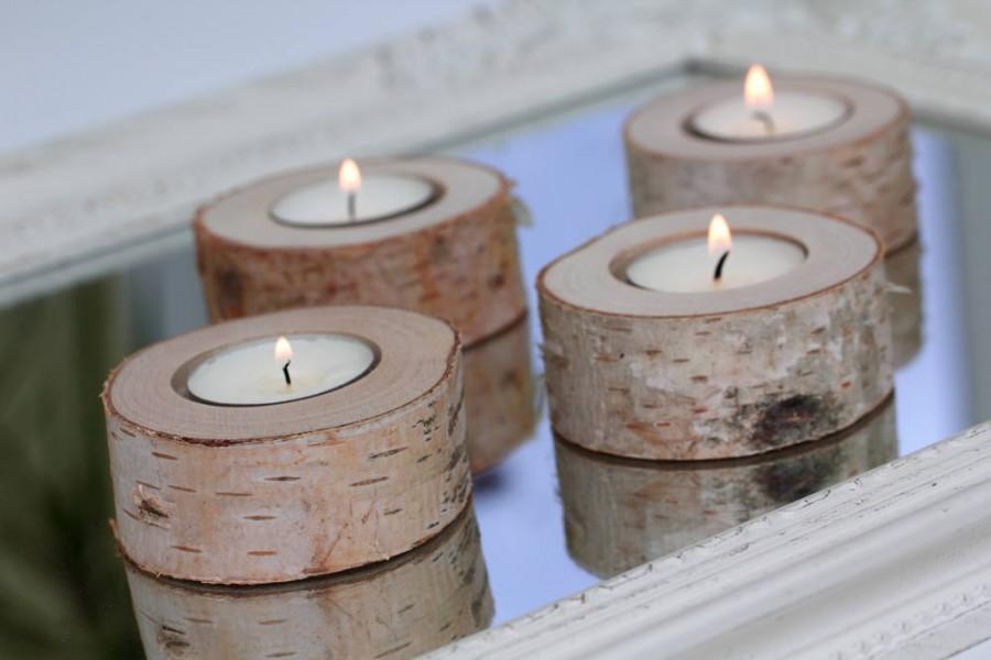 Wedding - Set of 5 birch candle holders, log candle holders, tea light stand, rustic wedding decor,  wedding favors, chabby chic wedding decor.